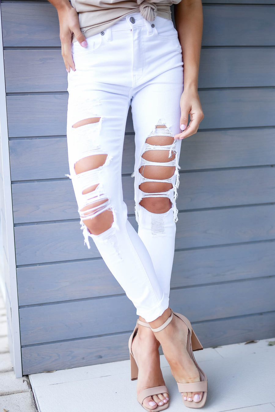 EUNINA Grace Distressed Skinny Jeans - White closet candy women's trendy ripped skinny jeans side