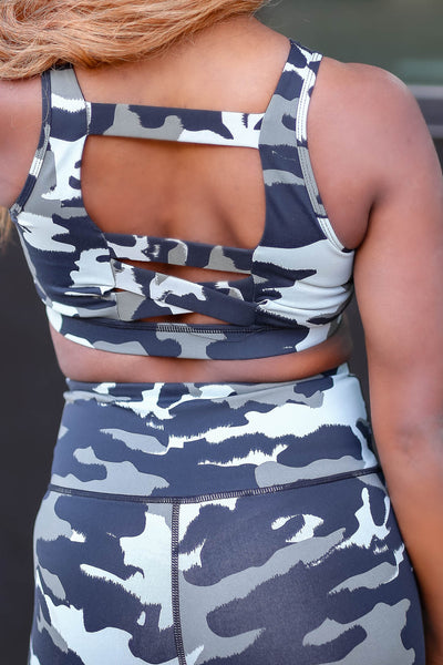 Going Nonstop Activewear - Black & Grey closet candy women's trendy camo activewear sports bra and leggings back