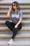 """Mama"" Graphic Tee - Vintage Camo closet candy women's trendy short sleeve graphic top sitting"