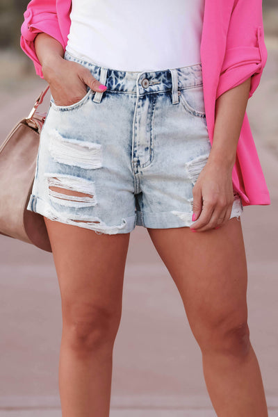 KAN CAN Jaycee Distressed Denim Shorts - Light Wash closet candy women's trendy ripped jean shorts with cuffed hem front