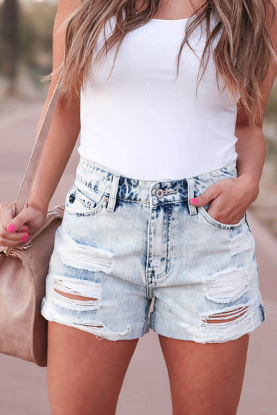 KAN CAN Jaycee Distressed Denim Shorts - Light Wash closet candy women's trendy ripped jean shorts with cuffed hem front 3