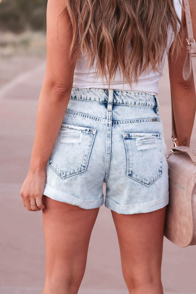 KAN CAN Jaycee Distressed Denim Shorts - Light Wash closet candy women's trendy ripped jean shorts with cuffed hem back