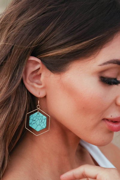 Inner Peace Earrings - Turquoise closet candy women's trendy hexagon earring with stone center 2