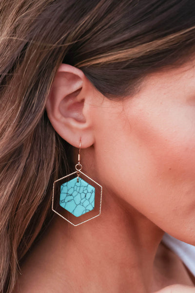 Inner Peace Earrings - Turquoise closet candy women's trendy hexagon earring with stone center 1