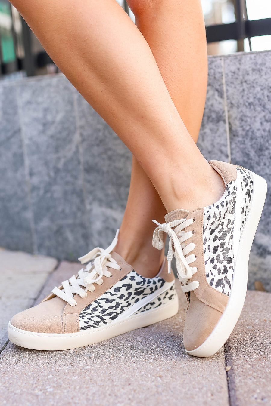 She's Got Hustle Leopard Sneakers - Khaki closet candy women's trendy leopard canvas and vegan suede sneakers 1