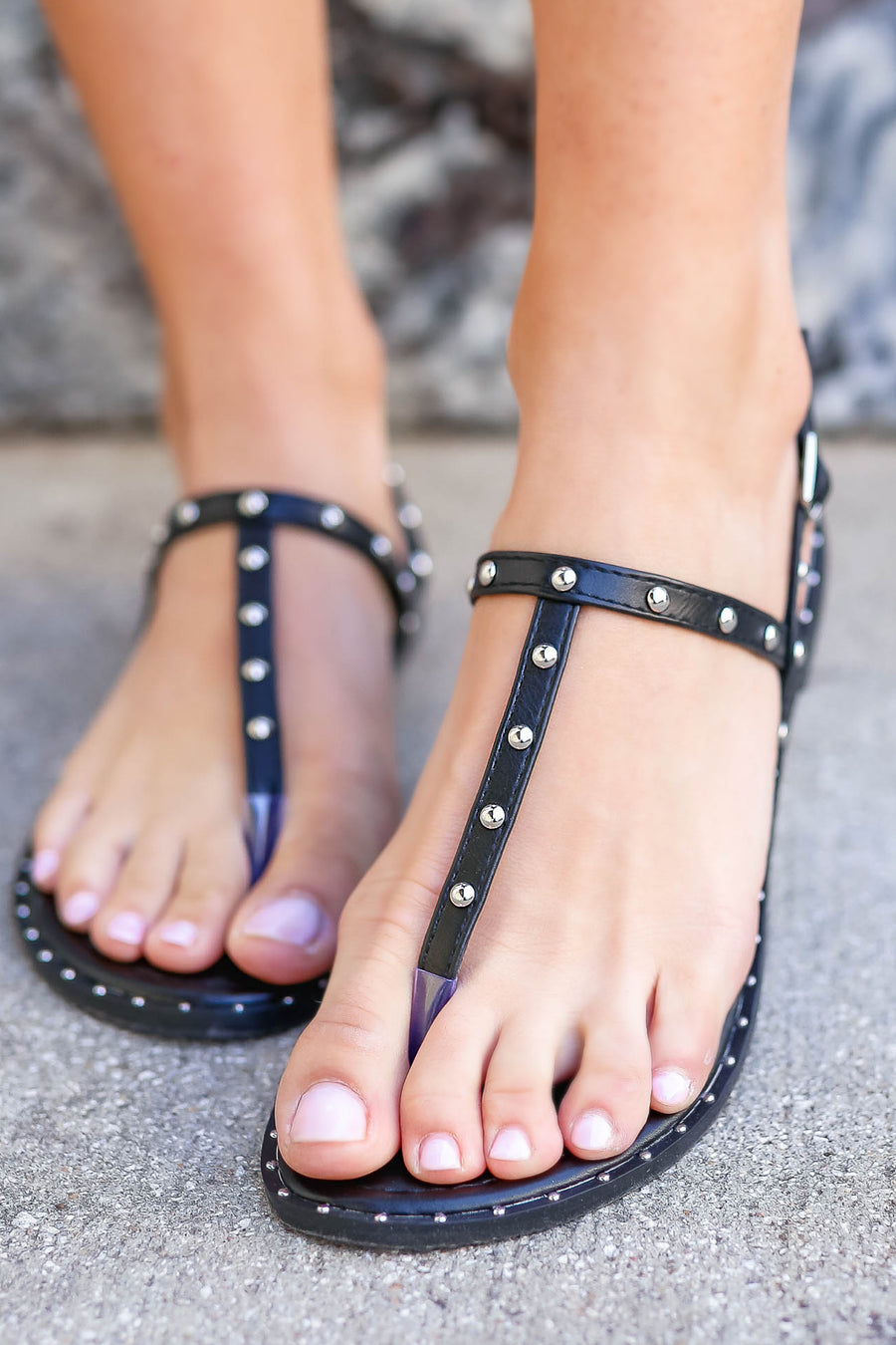 Poppy Studded Sandal - Black closet candy women's trendy studded thong sandals 1