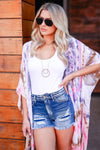 See You at Sunset Tie Dye Kimono - Multi closet candy women's trendy one size fits most colorful open front kimono front