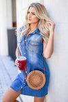 Hometown Girl Denim Dress - Medium Wash closet candy women's trendy sleeveless button up denim dress side