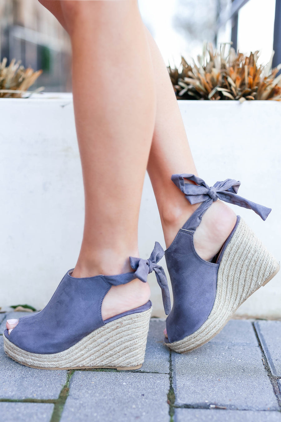 Laila Espadrille Wedges - Grey closet candy women's trendy peep toe wedges 1