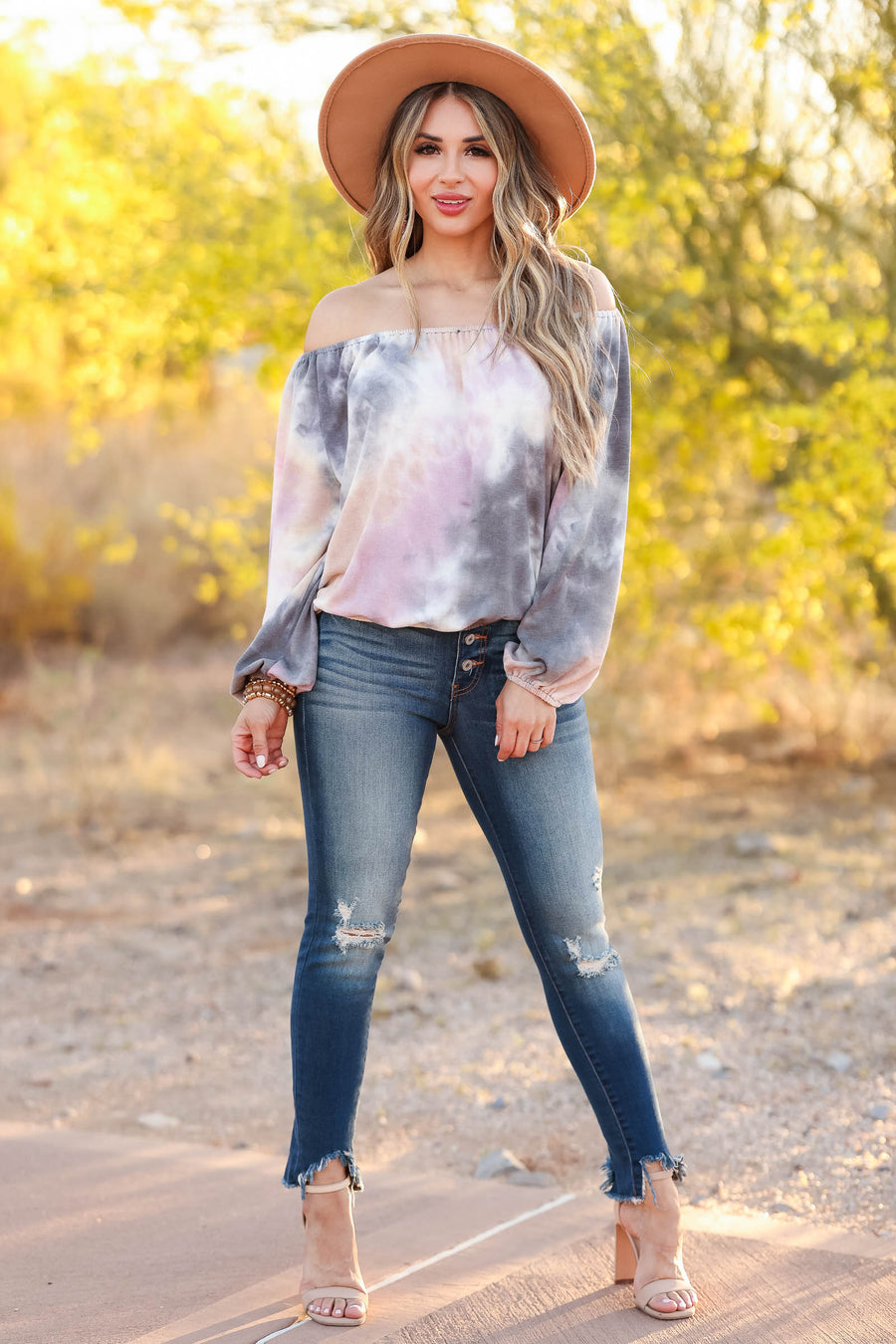 CBRAND Brush Your Shoulders Off Top - Midnight Tie Dye closet candy women's trendy tie dye off the shoulder long sleeve top front