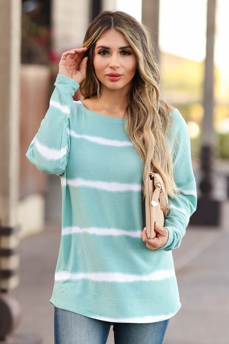 Sweet On Me Long Sleeve Top - Mint closet candy women's trendy stripe boat neck top front