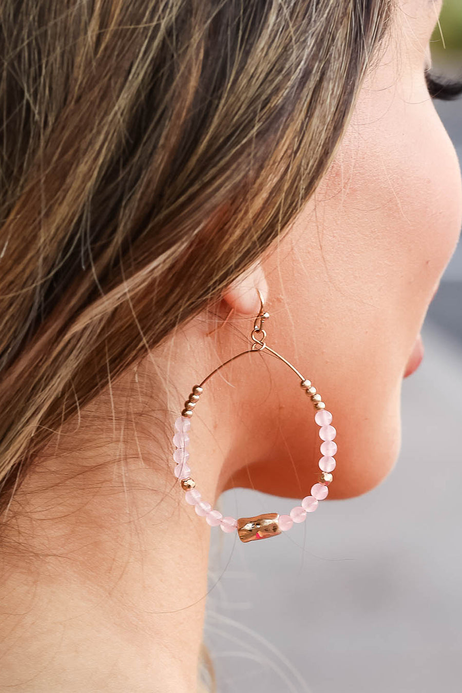 Dahlia Beaded Earrings - Blush closet candy women's trendy open teardrop beaded earrings 1