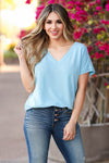 Pure Bliss V-Neck Top - Blue closet candy women's trendy short sleeve raw edge v neck top front