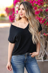 Pure Bliss V-Neck Top - Black closet candy women's trendy short sleeve raw edge v neck top front