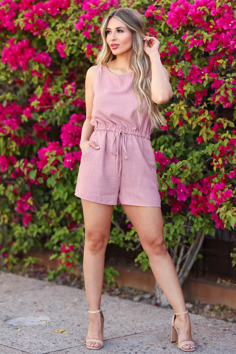 Summer of Love Romper - Dusty Rose closet candy women's trendy sleeveless woven romper front