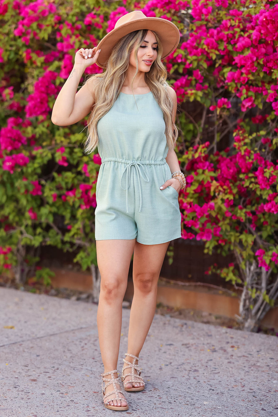Summer of Love Romper - Sage closet candy women's trendy sleeveless woven romper side