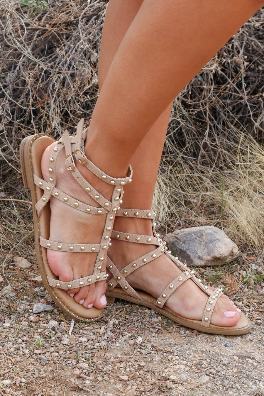 Shelby Studded Gladiator Sandal - Taupe closet candy wombs trendy strappy sandals with stud details 1