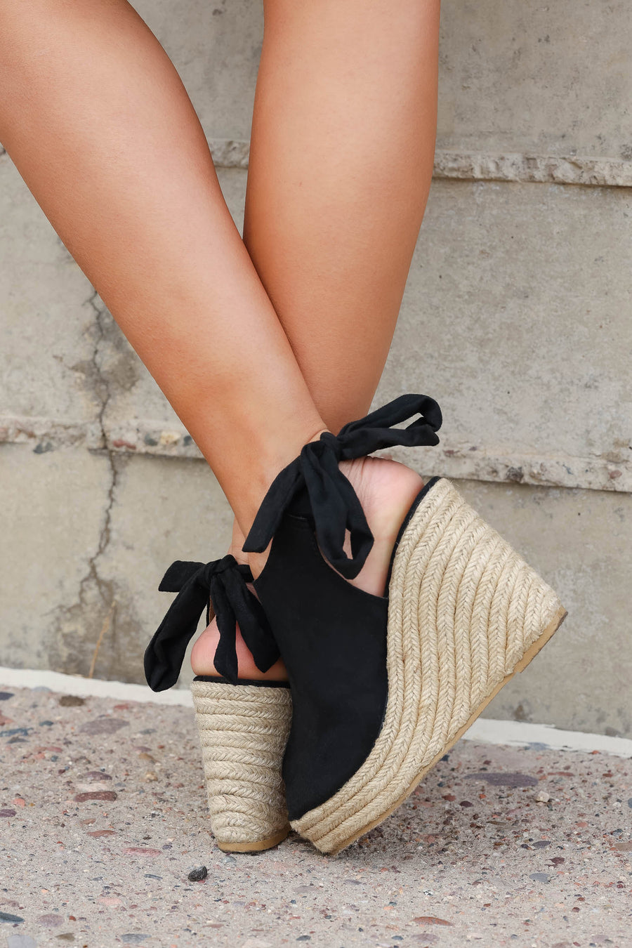 Laila Espadrille Wedges - Black closet candy women's trendy peep toe wedges 1