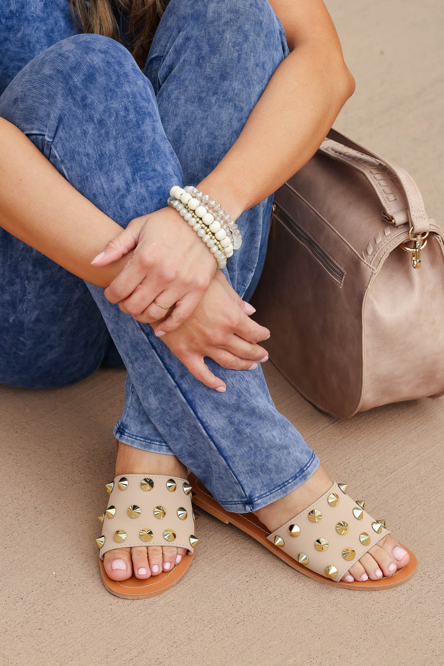 Jacklyn Studded Slip On Sandal - Taupe closet candy women's trendy slip on sandal with stud details 1