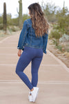 Moving Quicker Moto Leggings - Blue closet candy women's stretchy soft moto leggings back