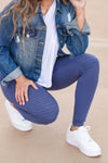 Moving Quicker Moto Leggings - Blue closet candy women's stretchy soft moto leggings close up