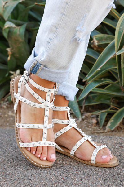 Shelby Studded Gladiator Sandal - White closet candy women's trendy strappy sandals with stud details 3