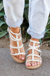 Shelby Studded Gladiator Sandal - White closet candy women's trendy strappy sandals with stud details 2