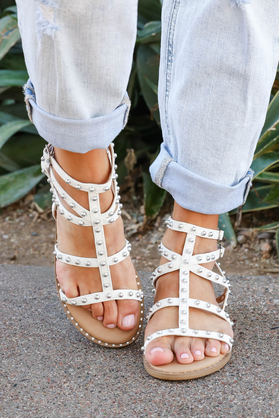 Shelby Studded Gladiator Sandal - White closet candy women's trendy strappy sandals with stud details 1