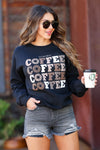 """You Had Me At Coffee"" Graphic Sweatshirt - Black closet candy women's trendy fleece lined long sleeve graphic sweatshirt front"