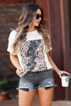 Strike of Light Graphic Tee - Cream closet candy women's trendy leopard lightning bolt graphic top front