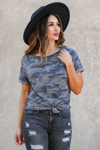CBRAND The Way You Look Camo Top - Charcoal closet candy women's trendy raw edge cuffed sleeve shirt front