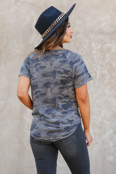 CBRAND The Way You Look Camo Top - Charcoal closet candy women's trendy raw edge cuffed sleeve shirt back