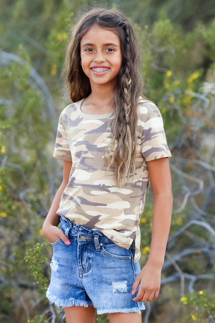 (KIDS) Hide and Seek Top - Camo children's camo print short sleeve shirt front