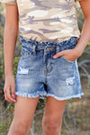 (KIDS) Lunch Bell Denim Shorts - Medium Wash childrens paper bag style distressed  jean shorts front