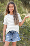 (KIDS) Hopscotch Top - Heather Grey children's short sleeve scallop stripe shirt front