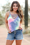 Take Note Tank Top - Rainbow closet candy women's trendy colorful tie dye caged neck tank top front