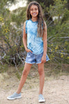 (KIDS) Skipping Rope Tie Dye Top - Teal childrens sleeveless tie dye top with ruffle trim front