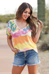 Back to Reality V-Neck Top - Multi closet candy women's trendy multicolor tie dye shirt front