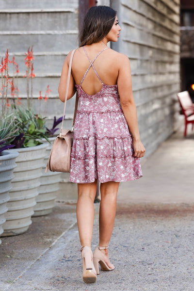 Blue Skies Forever Mini Dress - Dusty Rose closet candy women's trendy floral print ruffled sleeveless dress back 2