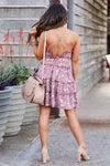 Blue Skies Forever Mini Dress - Dusty Rose closet candy women's trendy floral print ruffled sleeveless dress back