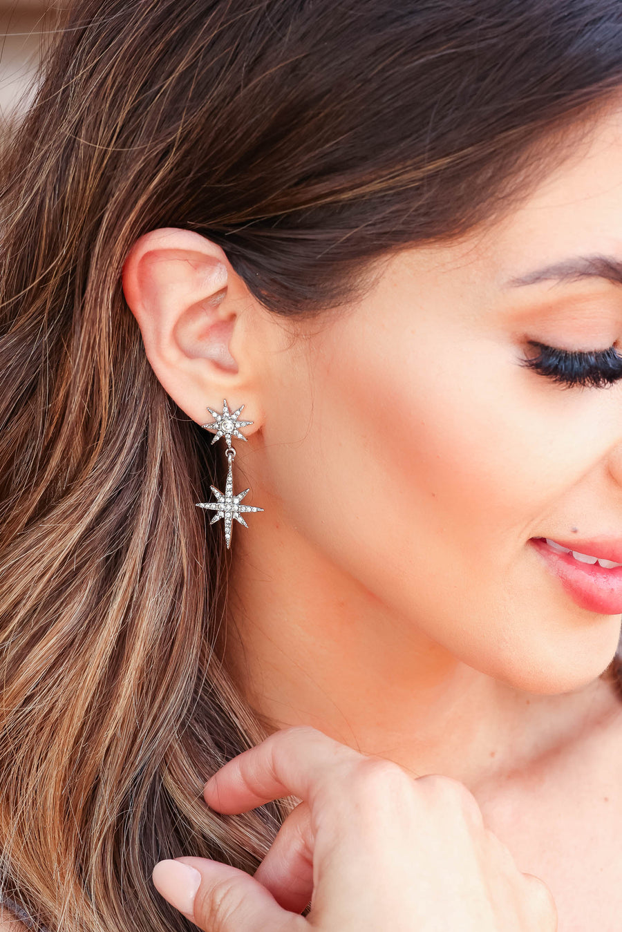 Taken By You Stacked Star Earrings - Silver closet candy women's trendy rhinestone stacked star drop earrings 1