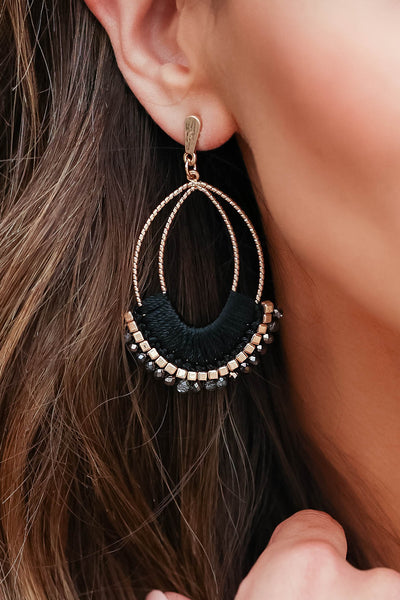 Just Another Day Bead Earrings - Black closet candy women's trendy threaded earrings with bead details 2