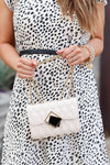 Margot Quilted Shoulder Bag - Cream closet candy women's trendy purse with geometric buckle detail 1