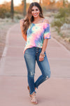 Let's Hit The Road Tie Dye Top - Rainbow closet candy women's strappy cold shoulder top front 3