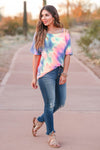 Let's Hit The Road Tie Dye Top - Rainbow closet candy women's strappy cold shoulder top front 2
