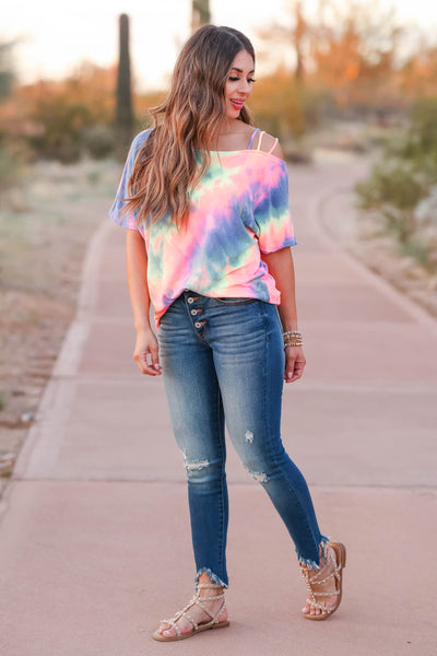 Let's Hit The Road Tie Dye Top - Rainbow closet candy women's strappy cold shoulder top front