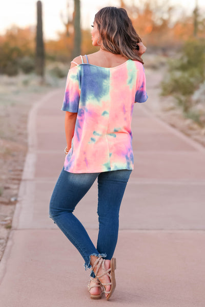Let's Hit The Road Tie Dye Top - Rainbow closet candy women's strappy cold shoulder top back