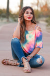 Let's Hit The Road Tie Dye Top - Rainbow closet candy women's strappy cold shoulder top sitting