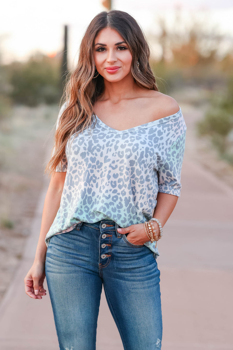 Back to Reality V-Neck Top - Blush Multi closet candy women's trendy leopard print short sleeve v neck top front