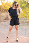 Make an Appearance Tie Front Romper - Black closet candy women's trendy short sleeve belted romper front